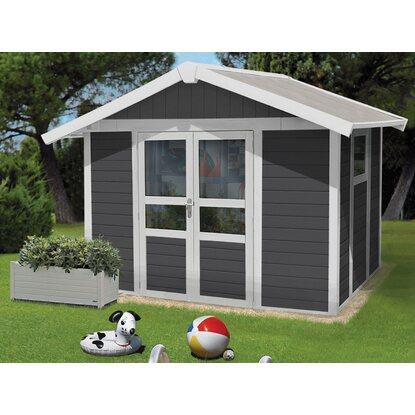 kunststoff gartenhaus deco domizil dunkelgrau wei 315 cm x 239 cm kaufen bei obi. Black Bedroom Furniture Sets. Home Design Ideas