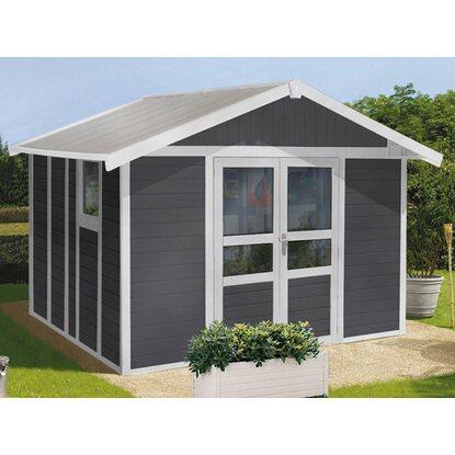 kunststoff gartenhaus deco domizil dunkelgrau wei 315 cm x 355 cm kaufen bei obi. Black Bedroom Furniture Sets. Home Design Ideas