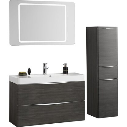 scanbad badm bel set 100 cm mit spiegelpaneel samba hacienda braun 3 teilig kaufen bei obi. Black Bedroom Furniture Sets. Home Design Ideas