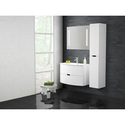 scanbad badm bel set 90 cm mit spiegelpaneel modern wei hochglanz 3 teilig kaufen bei obi. Black Bedroom Furniture Sets. Home Design Ideas