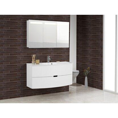 scanbad badm bel set 120 cm mit spiegelschrank 3 t rig modern wei hochglanz kaufen bei obi. Black Bedroom Furniture Sets. Home Design Ideas