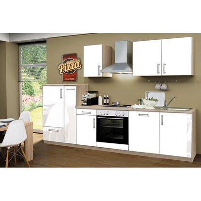 menke k chenzeile premium 300 cm wei hochglanz sonoma eiche nachbildung kaufen bei obi. Black Bedroom Furniture Sets. Home Design Ideas