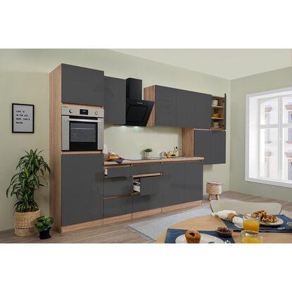respekta k chenzeile glrp370hesg grifflos 370 cm grau hochglanz sonoma eiche kaufen bei obi. Black Bedroom Furniture Sets. Home Design Ideas