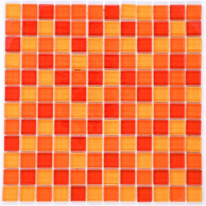 Mosaikmatte Glas Rot-Orange-Gelb-Mix 30 cm x 30 cm