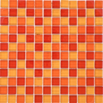 Mosaikmatte Glas Rot Orange Gelb Mix 30 cm x 30 cm