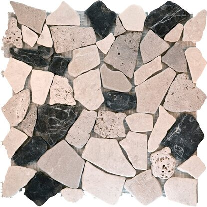 Mosaikmatte Polygonal Biancone Travertino Marron 30 cm x 30 cm