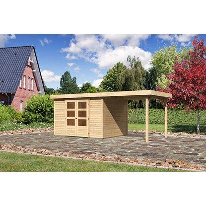 karibu holz gartenhaus boras 5 set mit schleppdach natur 302 cm x 246 cm kaufen bei obi. Black Bedroom Furniture Sets. Home Design Ideas