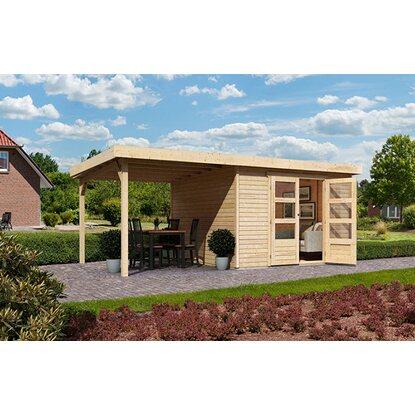 karibu holz gartenhaus boras 6 set mit schleppdach natur 302 cm x 306 cm kaufen bei obi. Black Bedroom Furniture Sets. Home Design Ideas