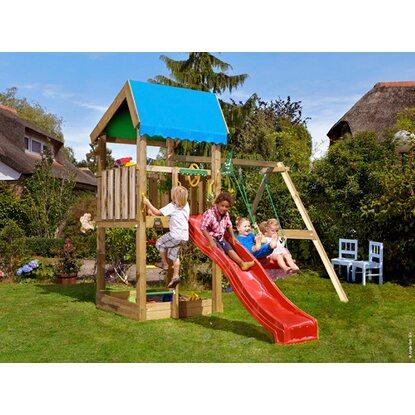 jungle gym spielturm home 2 schaukeln rutsche rot 291 cm. Black Bedroom Furniture Sets. Home Design Ideas