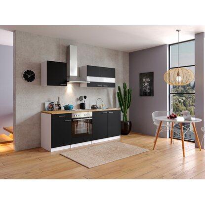 Respekta küchenzeile kb210ws 210 cm schwarz weiß