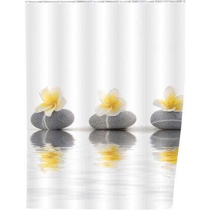 Wenko Duschvorhang Stones with Flower 200 cm x 180 cm