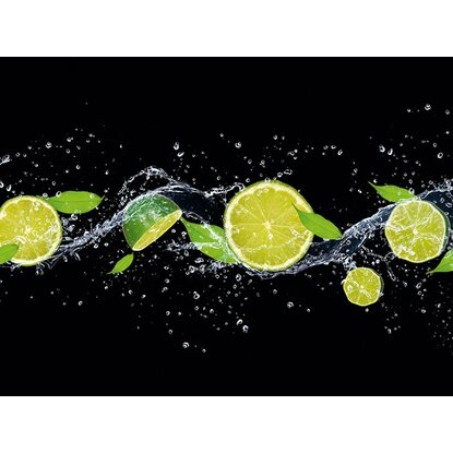 Kitchen Glas Spritzschutz Fresh Lime Diving 65 cm x 90 cm