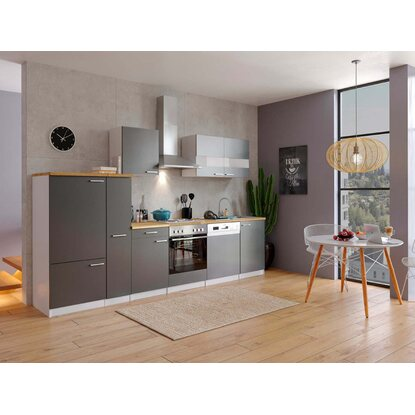 Respekta küchenzeile ohne e geräte 310 cm grau weiß