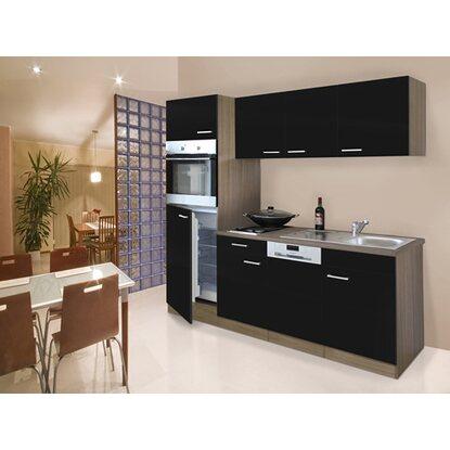 respekta k chenzeile 205 cm schwarz eiche york kaufen bei obi. Black Bedroom Furniture Sets. Home Design Ideas