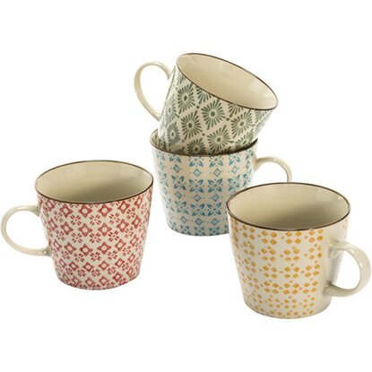 Best of home Keramik-Becher-Set 4-teilig Retro Bunt