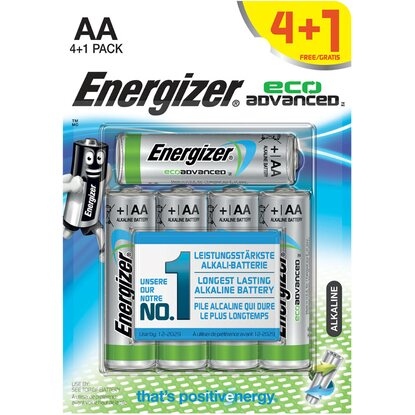 Energizer Eco Advanced AA Batterie Mignon 4er-Pack +1 Gratis