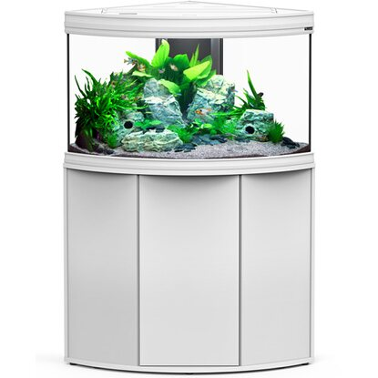 Aquatlantis Aquarium-Kombination Fusion Corner 100 LED 2.0 190 l Weiß