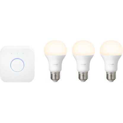Philips Hue W E27 3er Starter-Set White Lampe + 1 Bridge