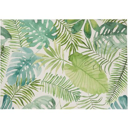 Best of Home Outdoor-Teppich Tropical Leaves Weiß-Grün 120 cm x 180 cm