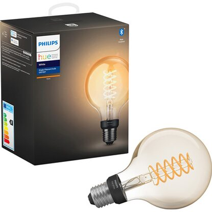 Philips Hue LED-Lampe Filament Globe White E27 Einzelpack 9 W Bluetooth EEK: A+
