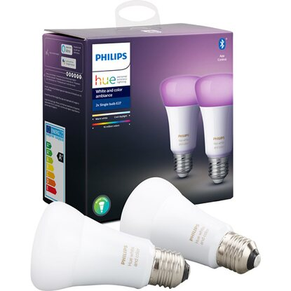 Philips Hue White & Color LED-Lampe E27 Doppelpack 2 x 10 W Bluetooth EEK: A+