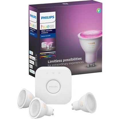 Philips Hue White LED-Lampe GU10 Starter Set 3 x 6,5 W inkl. Dimmer EEK: A+