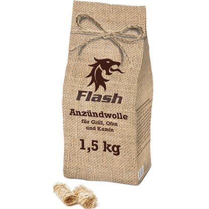 Flash Anzündwolle 1,5 kg Jute-Optik-Beutel