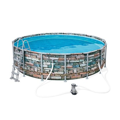 Bestway Power Steel Frame Poolset rund 488 cm x 122 cm