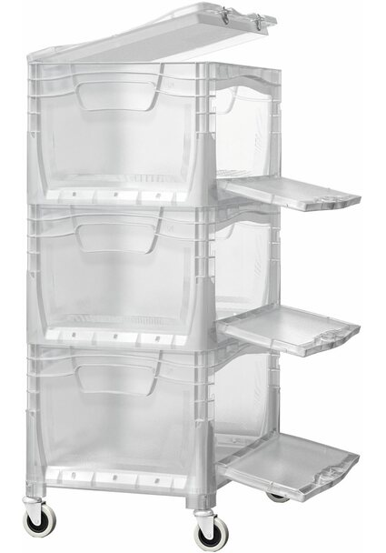 OBI Eurobox-System Tauro Flap-Box-Tower inkl. Rollen & 3 Boxen 40 x 30 cm transparent