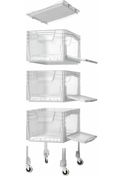 OBI Eurobox-System Tauro Flap-Box-Tower inkl. Rollen & 3 Boxen 40 x 30 cm transparent