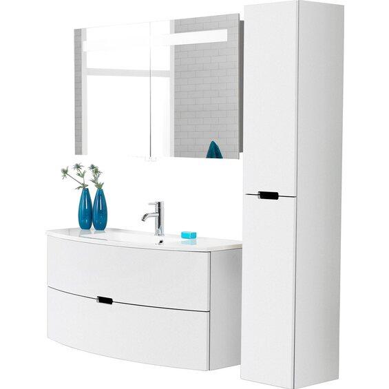 scanbad badm bel set 120 cm mit spiegelschrank 2 t rig modern wei hochglanz im obi online shop. Black Bedroom Furniture Sets. Home Design Ideas