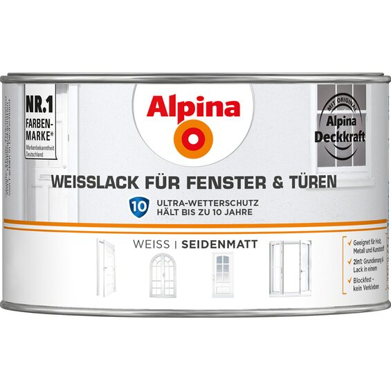 alpina wei lack f r fenster t ren seidenmatt 300 ml. Black Bedroom Furniture Sets. Home Design Ideas