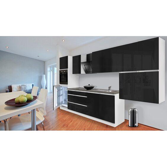 respekta k chenzeile ohne e ger te 370 cm schwarz hochglanz wei kaufen bei obi. Black Bedroom Furniture Sets. Home Design Ideas