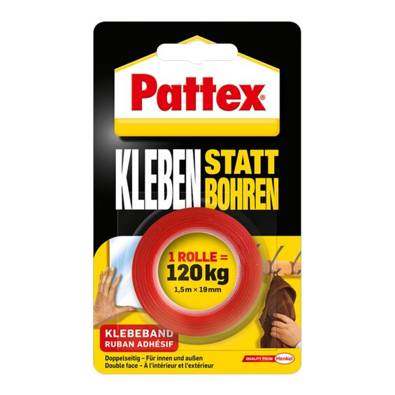 pattex kleben statt bohren klebeband 1 5 m x 19 mm im obi. Black Bedroom Furniture Sets. Home Design Ideas