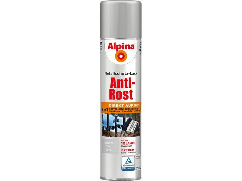 alpina metallschutz lack anti rost spray silber gl nzend 400 ml kaufen bei obi. Black Bedroom Furniture Sets. Home Design Ideas