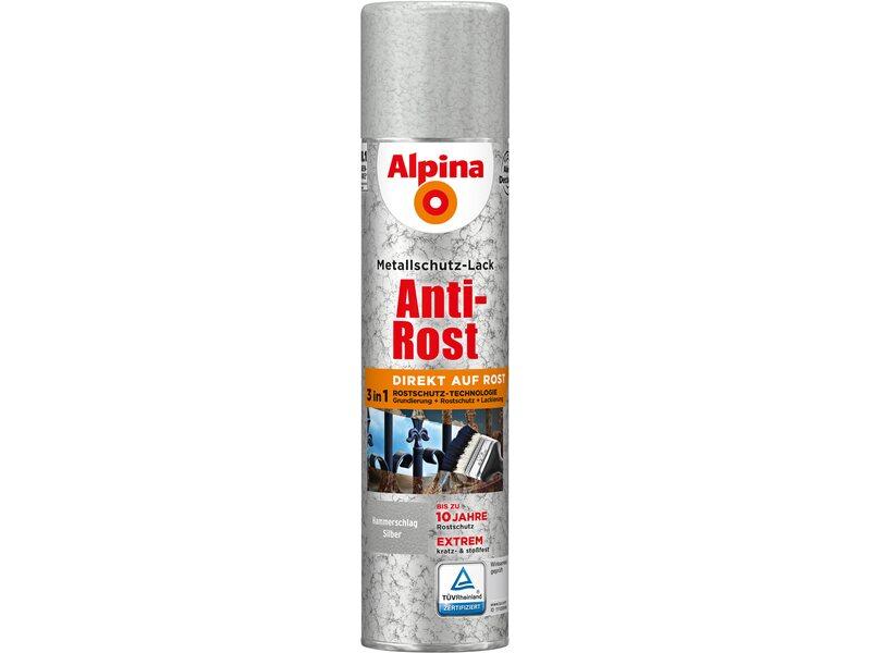 alpina metallschutz lack anti rost spray silber hammerschlag 400 ml kaufen bei obi. Black Bedroom Furniture Sets. Home Design Ideas
