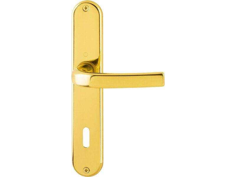 Jugendstil Schlüsselrosette Buntbart BB Messing poliert 46-2M