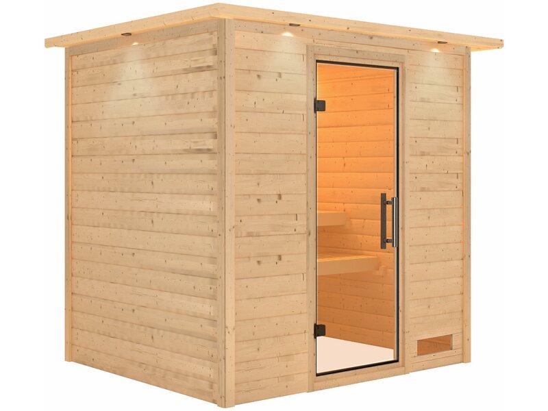 karibu sauna anja mit klar ganzglast r fronteinstieg mit dachkranz kaufen bei obi. Black Bedroom Furniture Sets. Home Design Ideas