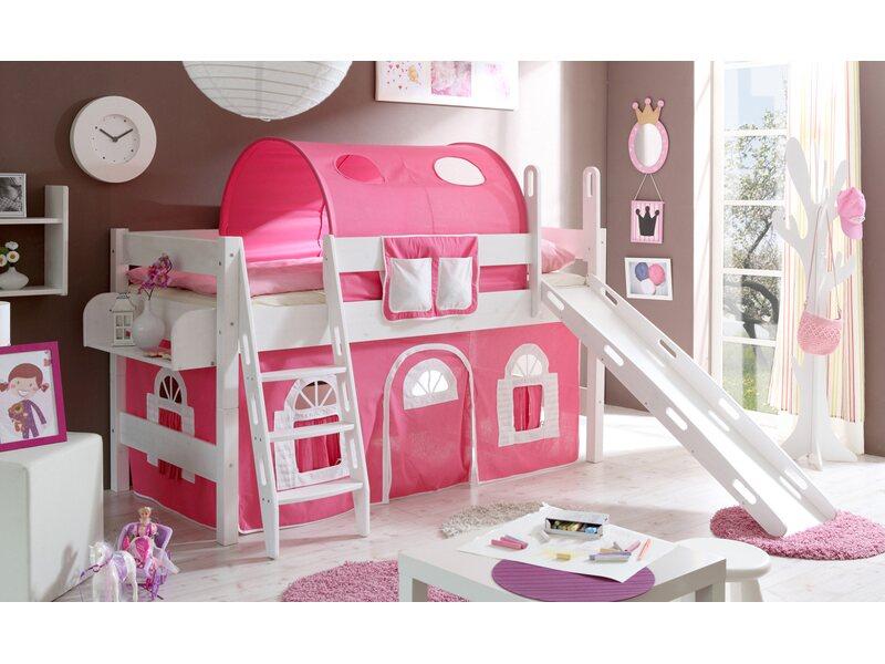 Etagenbett Obi : Hochbett mit rutsche kenny kiefer rosa weiß kaufen bei obi
