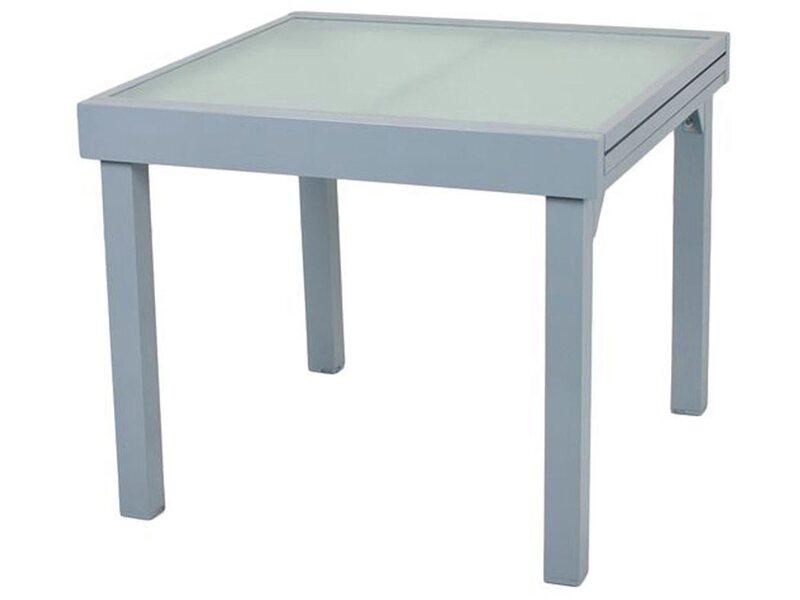 Tisch Outdoor geeignet ausziehbar Terrassentisch Glas grau anthrazit 90-180