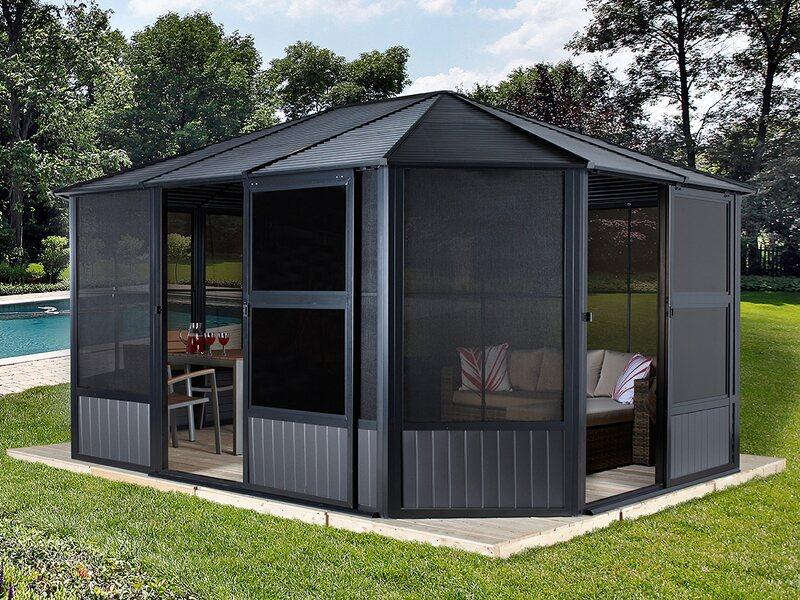 Sojag aluminium pavillon charleston 12 x 15 anthrazit 384 for Obi gazebo