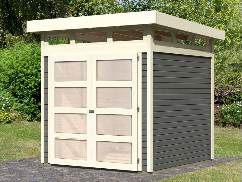 holz gartenhaus karlstad 3 terragrau 209 cm x 213 cm. Black Bedroom Furniture Sets. Home Design Ideas