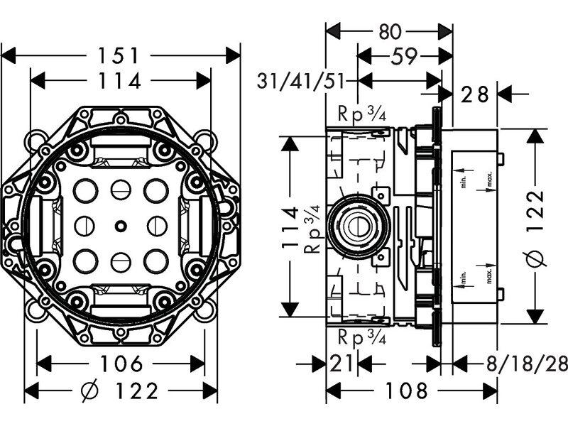 Hansgrohe Universal Grundkorper Ibox Fur Alle Unterputz Fertigsets
