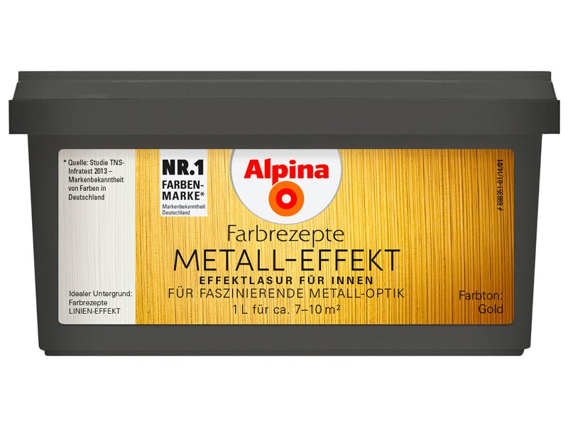 alpina farbrezepte metall effekt gold 1 l kaufen bei obi. Black Bedroom Furniture Sets. Home Design Ideas