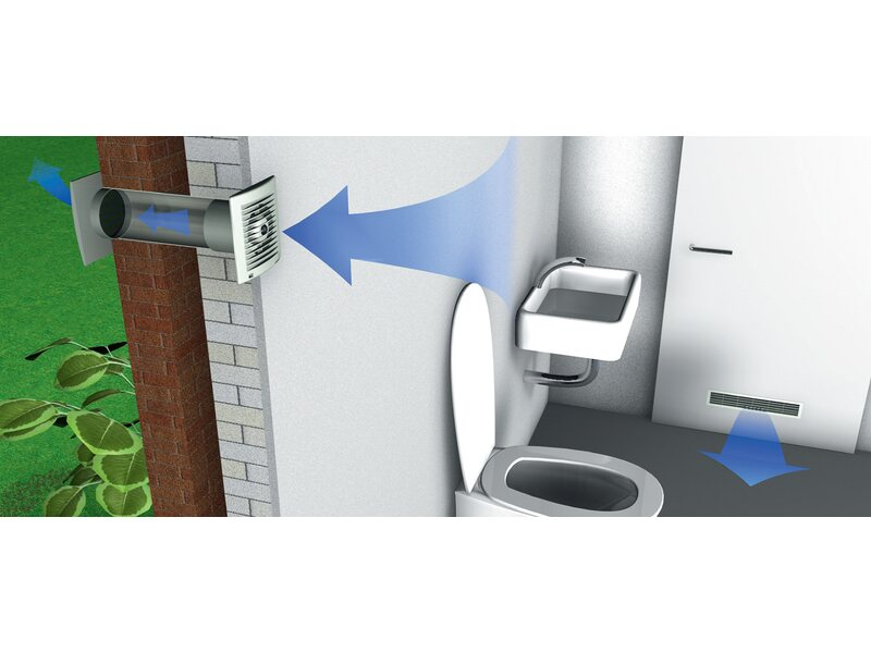 Wandl/üfter L/üfter /Ø 150 mm Durchmesser in wei/ß mit Timer Zeitschalter und Hygrostat Wohnraum Bad Toilette Badezimmer K/üche Keller