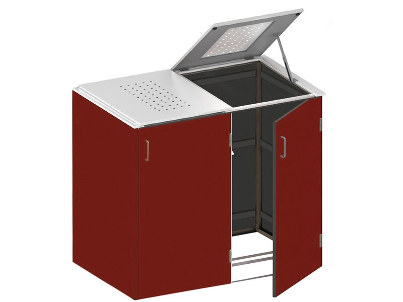 m lltonnenbox binto hpl 2er box mit edelstahl klappdeckel rot kaufen bei obi. Black Bedroom Furniture Sets. Home Design Ideas