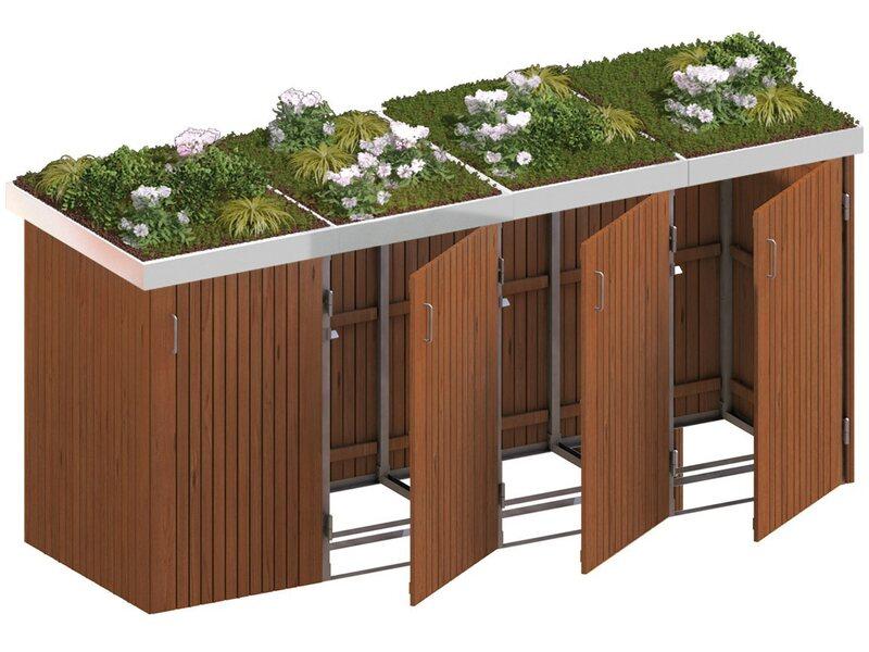 m lltonnenbox binto 8 hartholz 4er box mit pflanzschale kaufen bei obi. Black Bedroom Furniture Sets. Home Design Ideas
