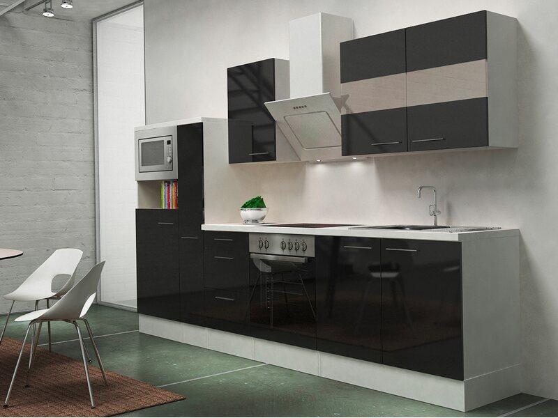 Respekta premium küchenzeile rp wscmis cm schwarz weiß