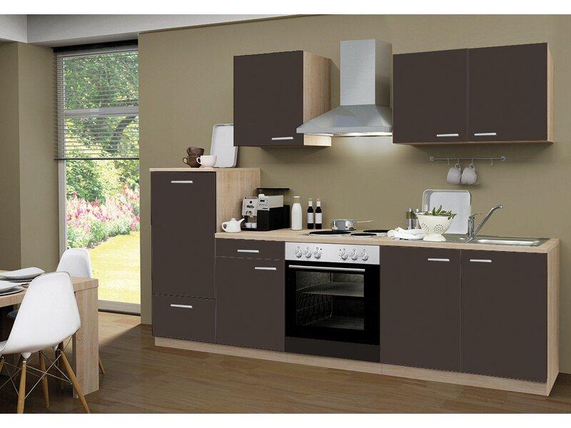 Menke Küchenzeile Classic 270 cm Lava Melamin-Sonoma Eiche ...