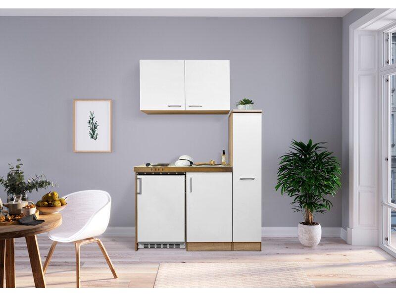 Miniküche Mit Kühlschrank 130 Cm : Respekta miniküche mk eswos cm weiß eiche sägerau